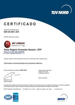 Certificado BRTÜV NBR ISO 9001:2015